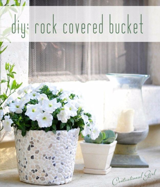 Pebble and Stone Crafts - DIY Rock Covered Bucket - DIY Ideas Using Rocks, Stones and Pebble Art - Mosaics, Craft Projects, Home Decor, Furniture and DIY Gifts You Can Make On A Budget #crafts