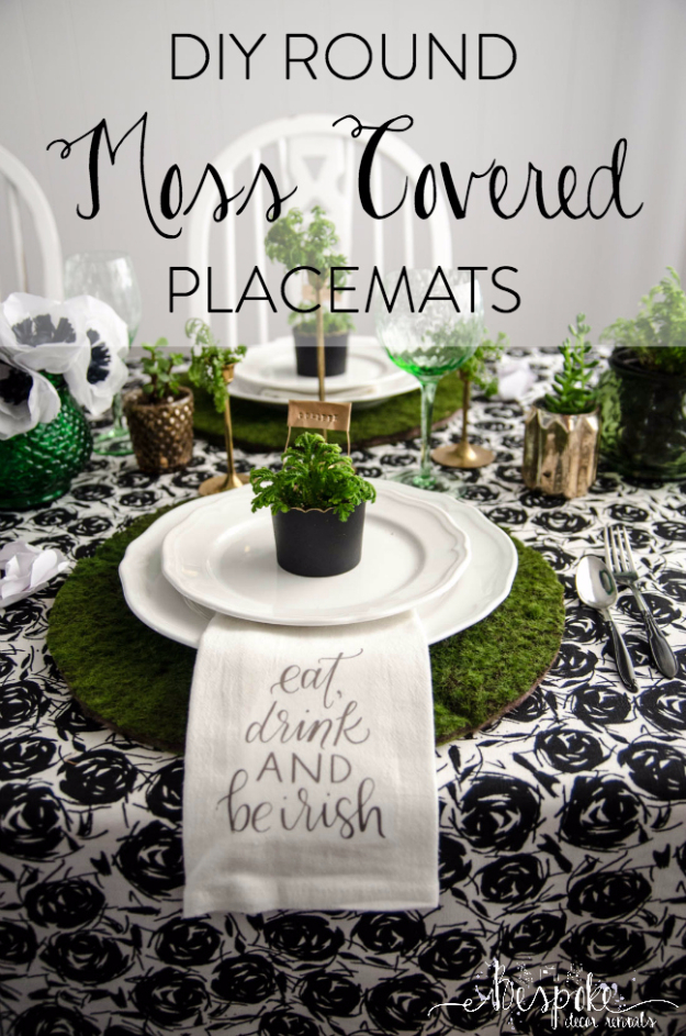 DIY St Patricks Day Ideas - DIY Round Moss Covered Placemats - Food and Best Recipes, Decorations and Home Decor, Party Ideas - Cupcakes, Drinks, Festive St Patrick Day Parties With these Easy, Quick and Cool Crafts and DIY Projects http://diyjoy.com/st-patricks-day-ideas