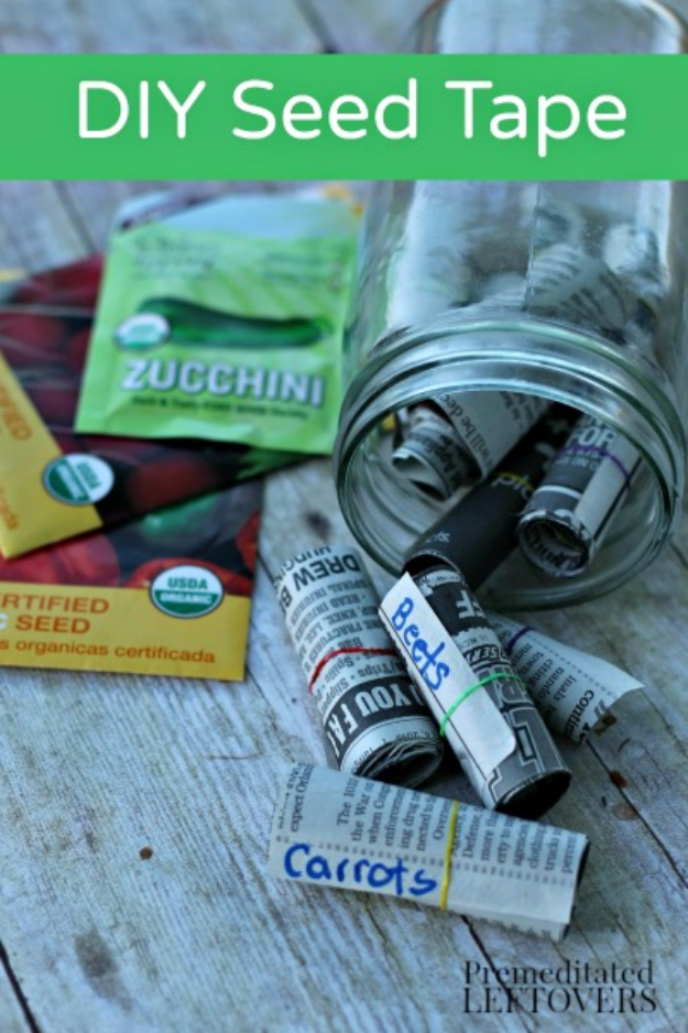DIY Spring Gardening Projects - DIY Seed Tape - Cool and Easy Planting Tips for Spring Garden - Step by Step Tutorials for Growing Seeds, Plants, Vegetables and Flowers in You Yard - DIY Project Ideas for Women and Men - Creative and Quick Backyard Ideas For Summer