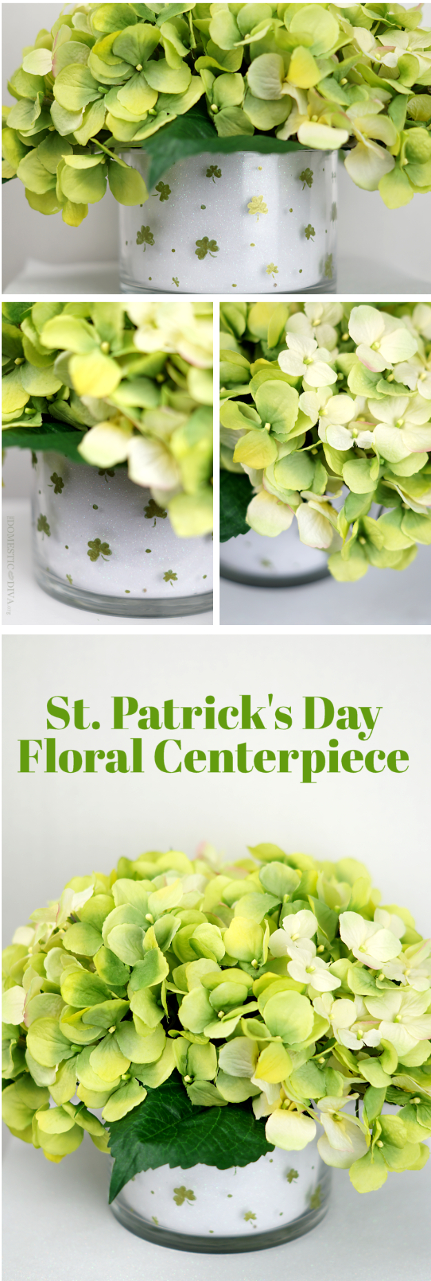 DIY St Patricks Day Ideas - DIY Shamrock Floral Arrangement Centerpiece - Food and Best Recipes, Decorations and Home Decor, Party Ideas - Cupcakes, Drinks, Festive St Patrick Day Parties With these Easy, Quick and Cool Crafts and DIY Projects http://diyjoy.com/st-patricks-day-ideas