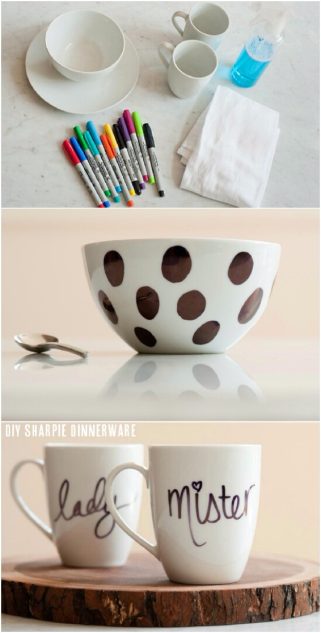 DIY Sharpie Crafts - DIY Sharpie Dinnerware - Cool and Easy Craft Projects and DIY Ideas Using Sharpies - Use Markers To Decorate and Design Home Decor, Cool Homemade Gifts, T-Shirts, Shoes and Wall Art. Creative Project Tutorials for Teens, Kids and Adults http://diyjoy.com/diy-sharpie-crafts