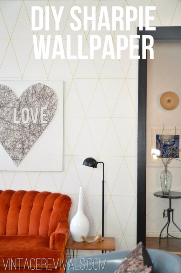 DIY Sharpie Crafts - DIY Sharpie Wallpaper - Cool and Easy Craft Projects and DIY Ideas Using Sharpies - Use Markers To Decorate and Design Home Decor, Cool Homemade Gifts, T-Shirts, Shoes and Wall Art. Creative Project Tutorials for Teens, Kids and Adults http://diyjoy.com/diy-sharpie-crafts