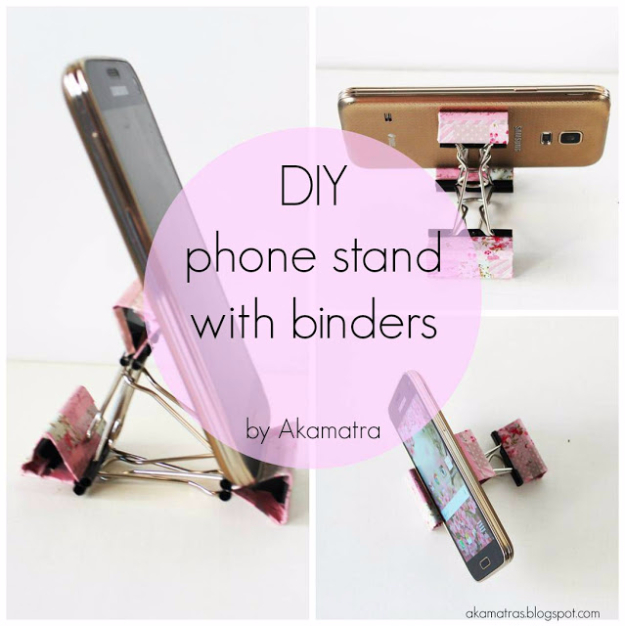 DIY Phone Hacks - DIY Smartphohe Stand With Binders - Cool Tips and Tricks for Phones, Headphones and iPhone How To - Make Speakers, Change Settings, Know Secrets You Can Do With Your Phone By Learning This Cool Stuff - DIY Projects and Crafts for Men and Women http://diyjoy.com/diy-iphone-hacks