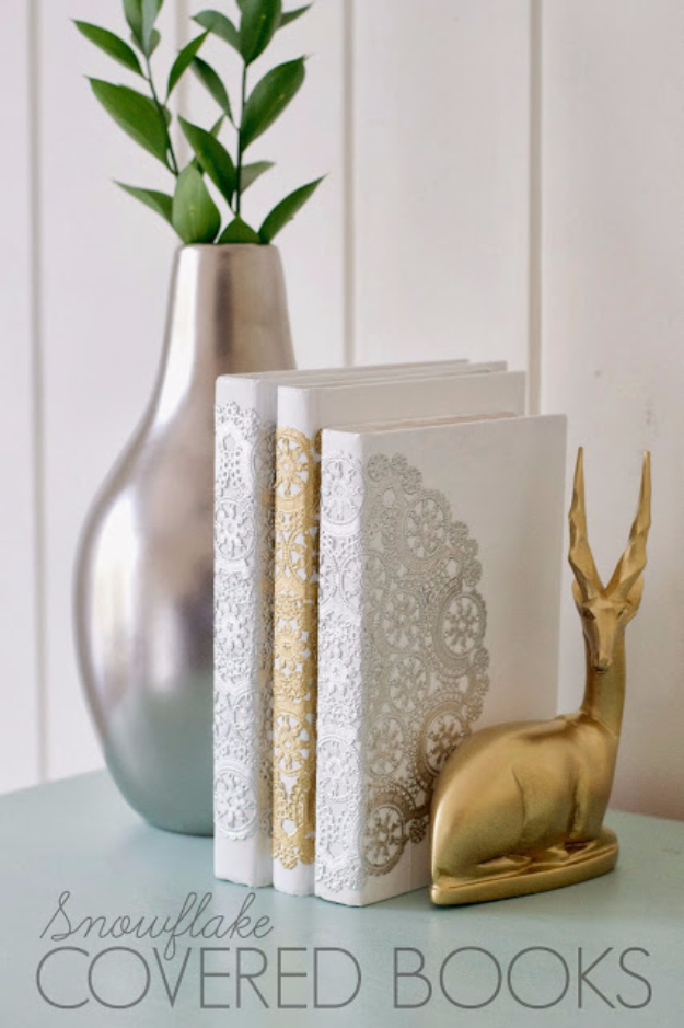 DIY Projects Made With Old Books - DIY Snowflake Covered Books - Make DIY Gifts, Crafts and Home Decor With Old Book Pages and Hardcover and Paperbacks - Easy Shelving, Decorations, Wall Art and Centerpieces with BOOKS