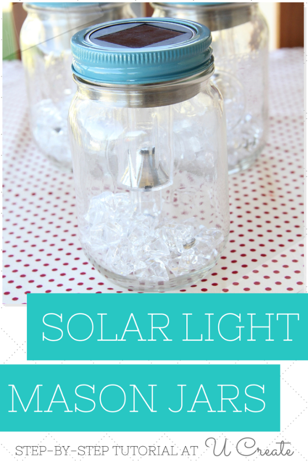 DIY Solar Powered Projects - DIY Solar Light Mason Jars - Easy Solar Crafts and DYI Ideas for Making Solar Power Things You Can Use To Save Energy - Step by Step Tutorials for Making Things Without Batteries - DIY Projects and Crafts for Men and Women