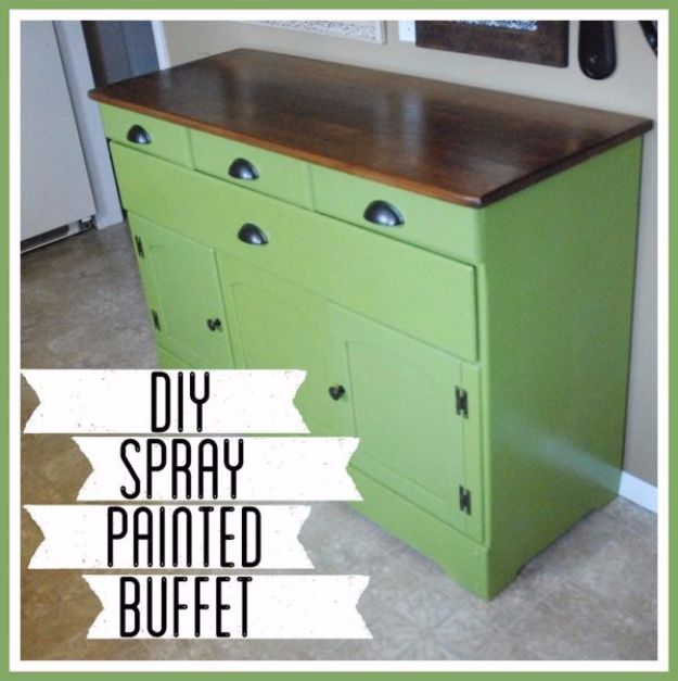 Spray Painting Tips and Tricks - DIY Spray Painted Buffet - Home Improvement Ideas and Tutorials for Spray Painting Furniture, House, Doors, Trim, Windows and Walls - Step by Step Tutorials and Best How To Instructions - DIY Projects and Crafts by DIY JOY http://diyjoy.com/spray-painting-tips-tricks