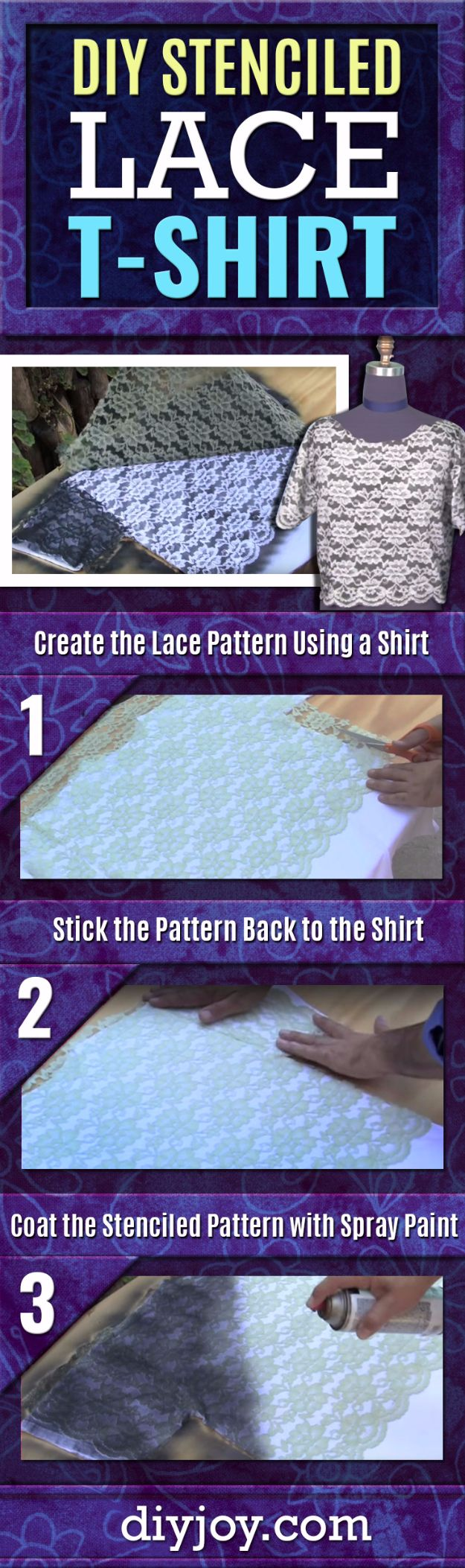 Spray Painting Tips and Tricks - DIY Stenciled Lace T-Shirt - Home Improvement Ideas and Tutorials for Spray Painting Furniture, House, Doors, Trim, Windows and Walls - Step by Step Tutorials and Best How To Instructions - DIY Projects and Crafts by DIY JOY http://diyjoy.com/spray-painting-tips-tricks