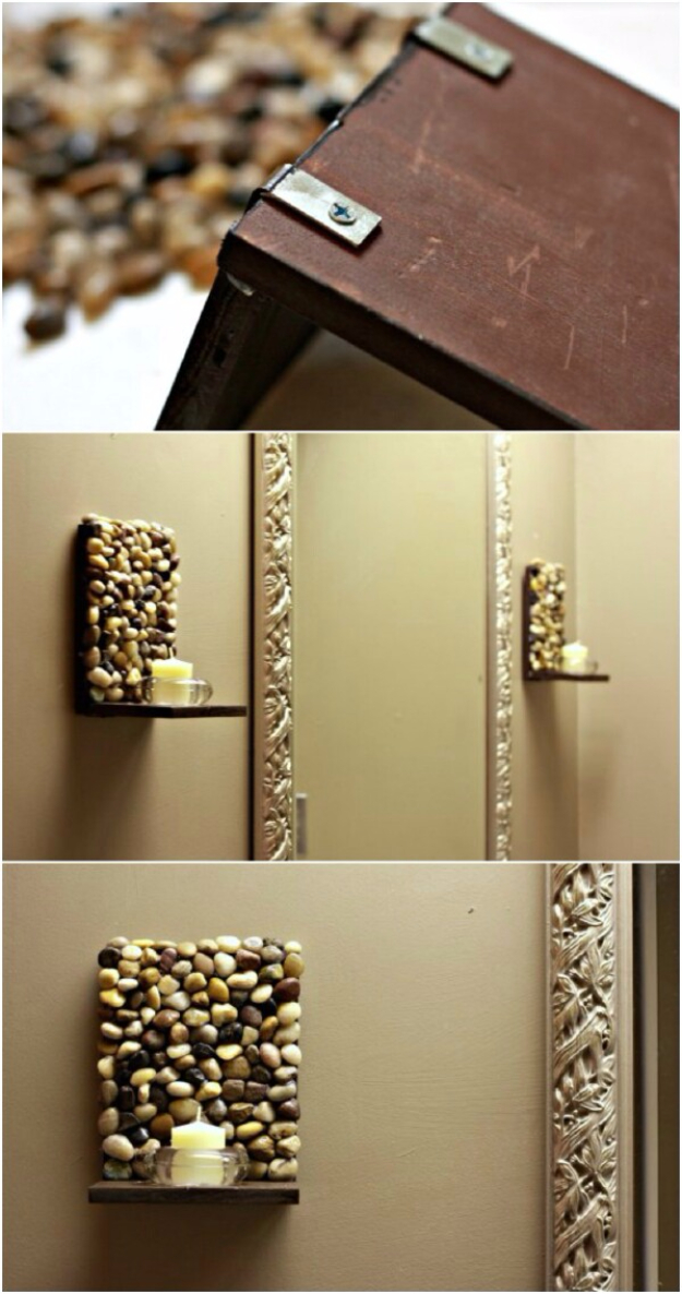 Pebble and Stone Crafts - DIY Stone Sconces - DIY Ideas Using Rocks, Stones and Pebble Art - Mosaics, Craft Projects, Home Decor, Furniture and DIY Gifts You Can Make On A Budget #crafts