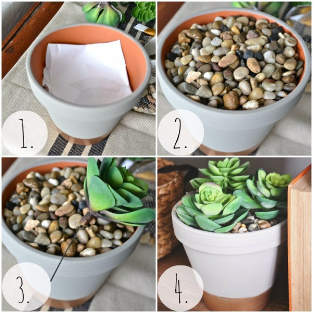 Pebble and Stone Crafts - DIY Succulent Planter With River Stones