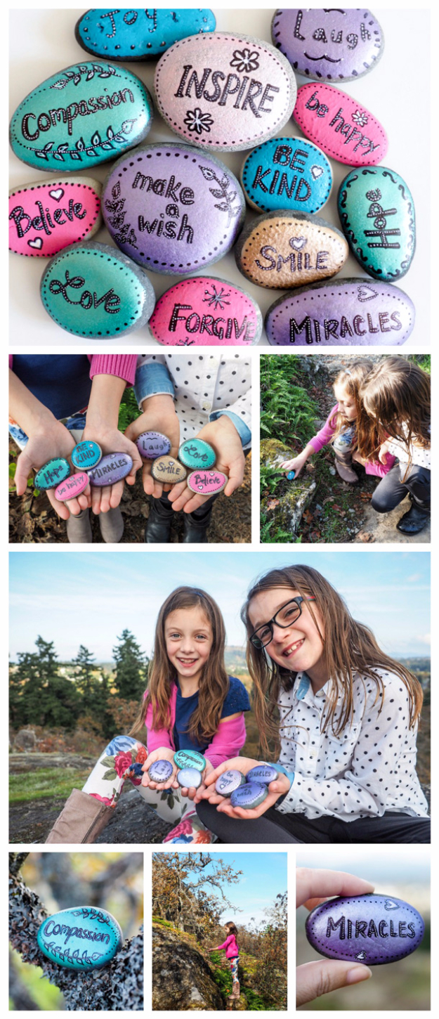 Pebble and Stone Crafts - DIY Word Rocks - DIY Ideas Using Rocks, Stones and Pebble Art - Mosaics, Craft Projects, Home Decor, Furniture and DIY Gifts You Can Make On A Budget #crafts