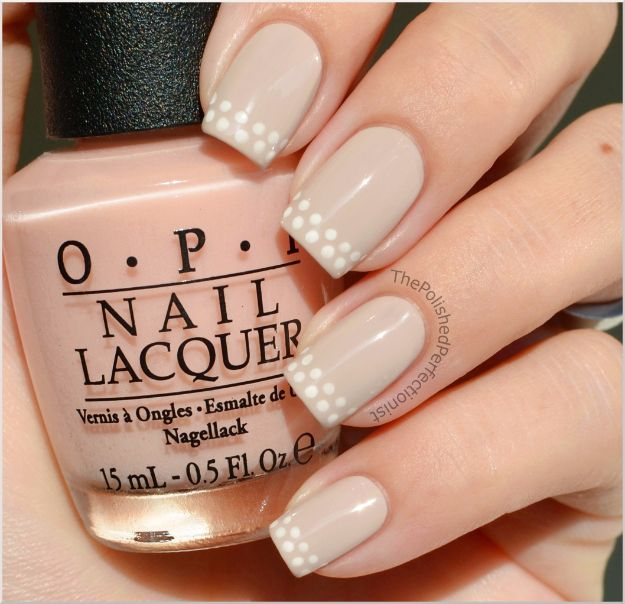 Quick Nail Art Ideas - Dotted French - Easy Step by Step Nail Designs With Tutorials and Instructions - Simple Photos Show You How To Get A Perfect Manicure at Home - Cool Beauty Tips and Tricks for Women and Teens