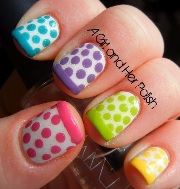 Quick Nail Art Ideas - Dotty French Spring Nails - Easy Step by Step Nail Designs With Tutorials and Instructions - Simple Photos Show You How To Get A Perfect Manicure at Home - Cool Beauty Tips and Tricks for Women and Teens