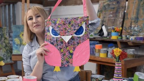 She Makes The Most Adorable Owl Tote Bag Out Of Duct Tape (Watch!) | DIY Joy Projects and Crafts Ideas
