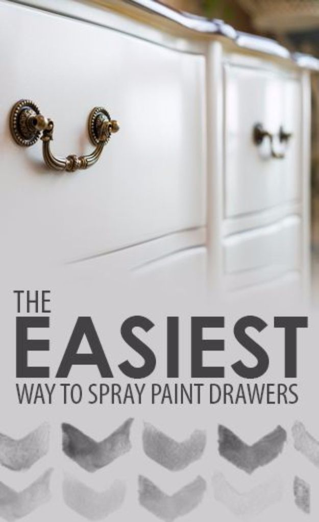 Spray Painting Tips and Tricks - Easiest Way To Spray Paint Drawers - Home Improvement Ideas and Tutorials for Spray Painting Furniture, House, Doors, Trim, Windows and Walls - Step by Step Tutorials and Best How To Instructions - DIY Projects and Crafts by DIY JOY #diyideas