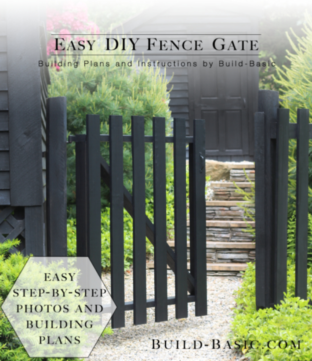 DIY Fences and Gates - Easy DIY Fence Gate - How To Make Easy Fence and Gate Project for Backyard and Home - Step by Step Tutorial and Ideas for Painting, Updating and Making Fences and DIY Gate - Cool Outdoors and Yard Projects