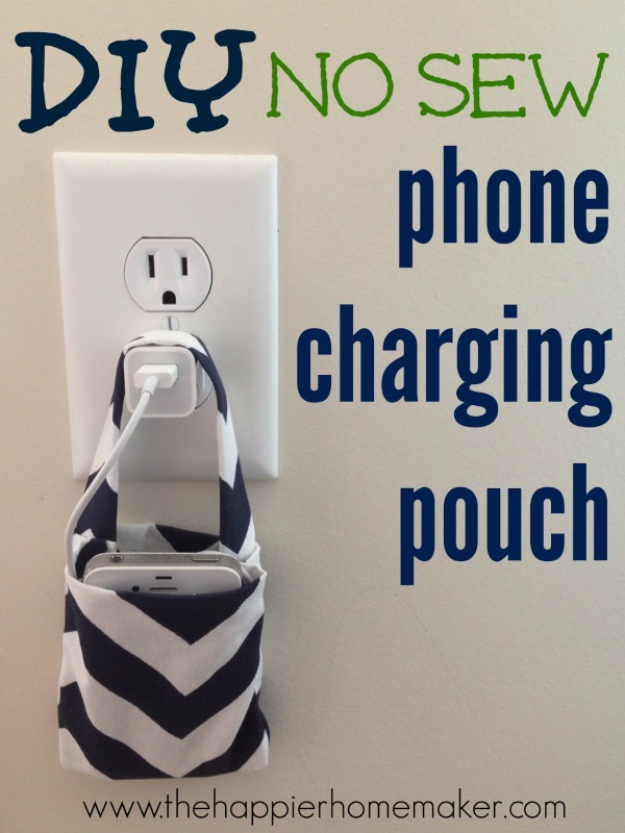 DIY Phone Hacks - Easy DIY No Sew Phone Charging Pouch - Cool Tips and Tricks for Phones, Headphones and iPhone How To - Make Speakers, Change Settings, Know Secrets You Can Do With Your Phone By Learning This Cool Stuff - DIY Projects and Crafts for Men and Women http://diyjoy.com/diy-iphone-hacks