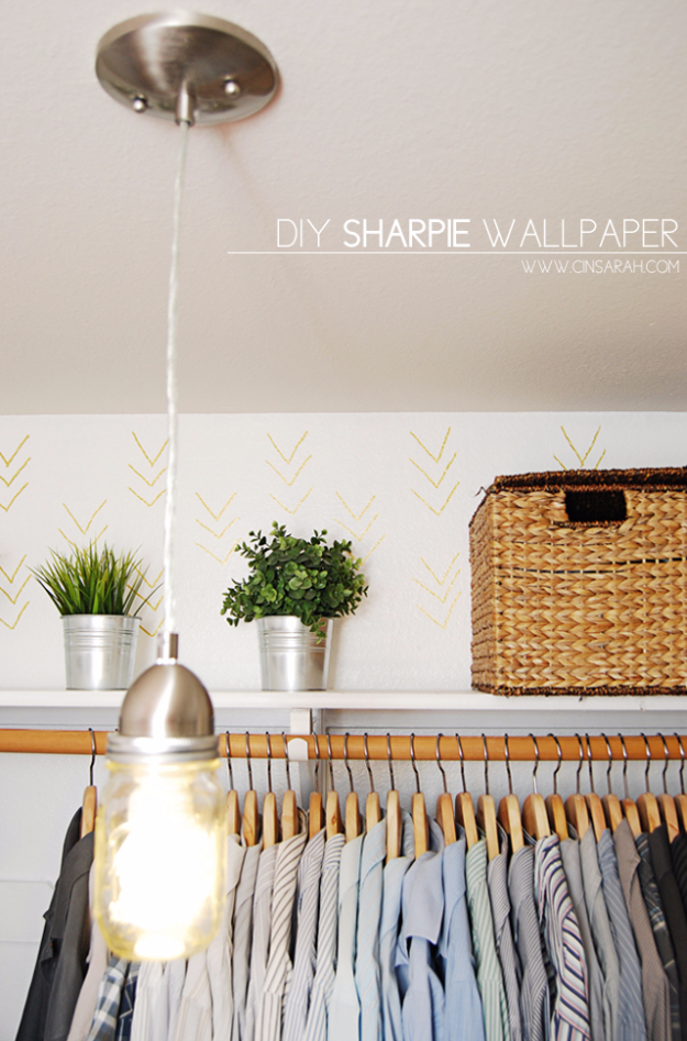 DIY Sharpie Crafts - Easy DIY Sharpie Wallpaper - Cool and Easy Craft Projects and DIY Ideas Using Sharpies - Use Markers To Decorate and Design Home Decor, Cool Homemade Gifts, T-Shirts, Shoes and Wall Art. Creative Project Tutorials for Teens, Kids and Adults http://diyjoy.com/diy-sharpie-crafts