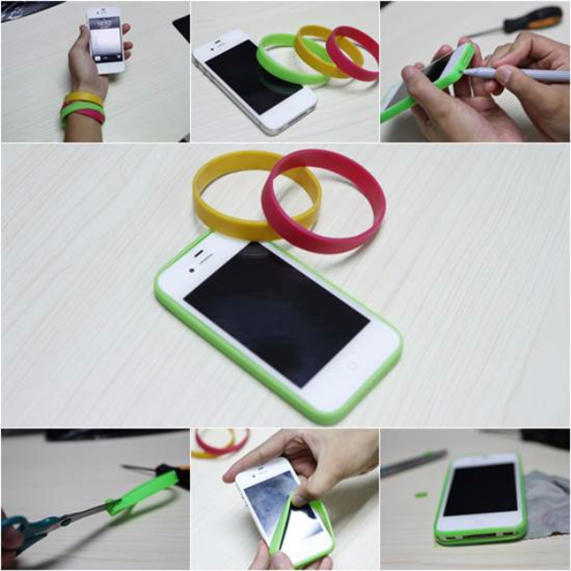 DIY Phone Hacks - Easy DIY iPhone Bumper Case - Cool Tips and Tricks for Phones, Headphones and iPhone How To - Make Speakers, Change Settings, Know Secrets You Can Do With Your Phone By Learning This Cool Stuff - DIY Projects and Crafts for Men and Women http://diyjoy.com/diy-iphone-hacks