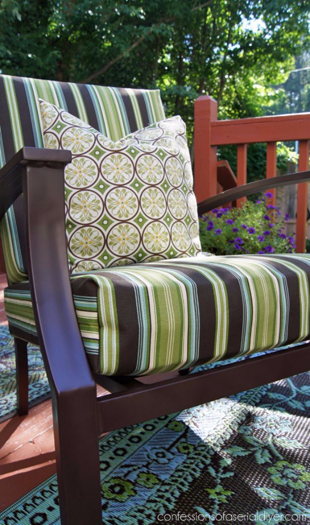 Sewing Projects for The Patio - Easy Outdoor Cushion Covers - Step by Step Instructions and Free Patterns for Cushions, Pillows, Seating, Sofa and Outdoor Patio Decor - Easy Sewing Tutorials for Beginners - Creative and Cheap Outdoor Ideas for Those Who Love to Sew - DIY Projects and Crafts by DIY JOY http://diyjoy.com/sewing-projects-patio