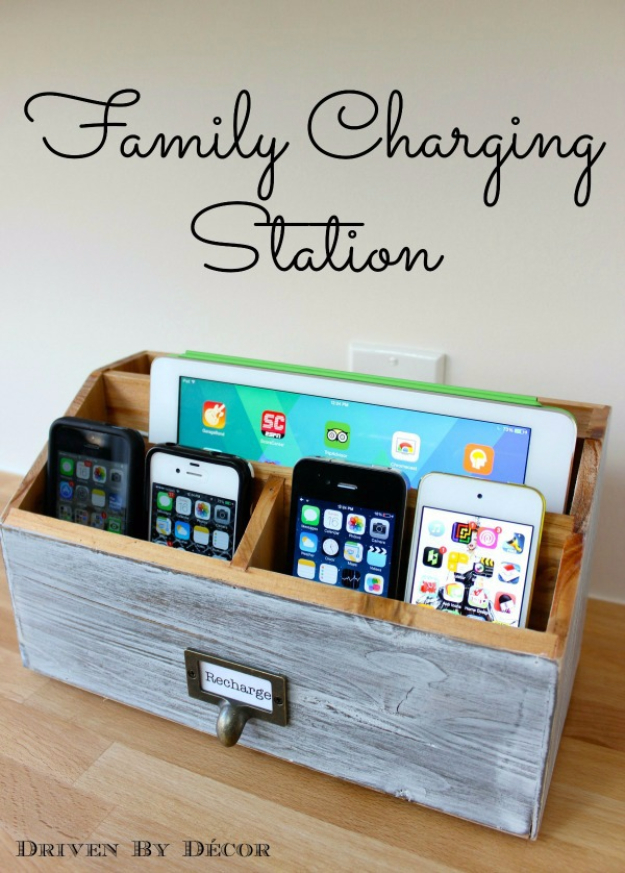 DIY Phone Hacks - Family Charging Station - Cool Tips and Tricks for Phones, Headphones and iPhone How To - Make Speakers, Change Settings, Know Secrets You Can Do With Your Phone By Learning This Cool Stuff - DIY Projects and Crafts for Men and Women http://diyjoy.com/diy-iphone-hacks