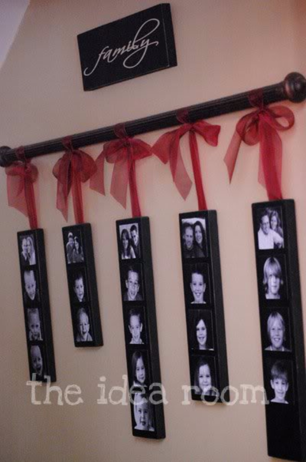 DIY Photo Crafts and Projects for Pictures - Family Pictures Wall Hanging - Handmade Picture Frame Ideas and Step by Step Tutorials for Making Cool DIY Gifts and Home Decor - Cheap and Easy Photo Frames, Creative Ways to Frame and Mount Photos on Canvas and Display Them In Your House