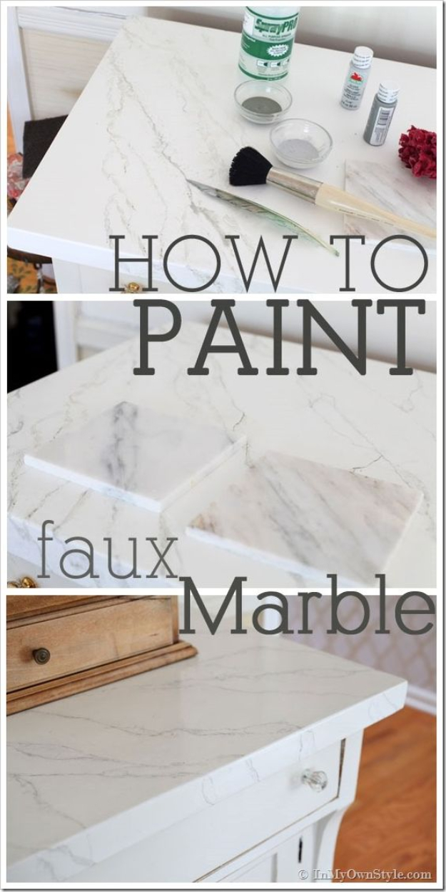 DIY Faux Marble Ideas - Faux Carrara Marble Painting Technique - Easy Crafts and DIY Projects With Faux Marbling Tutorials - Paint and Decorate Home Decor, Creative DIY Gifts and Office Accessories