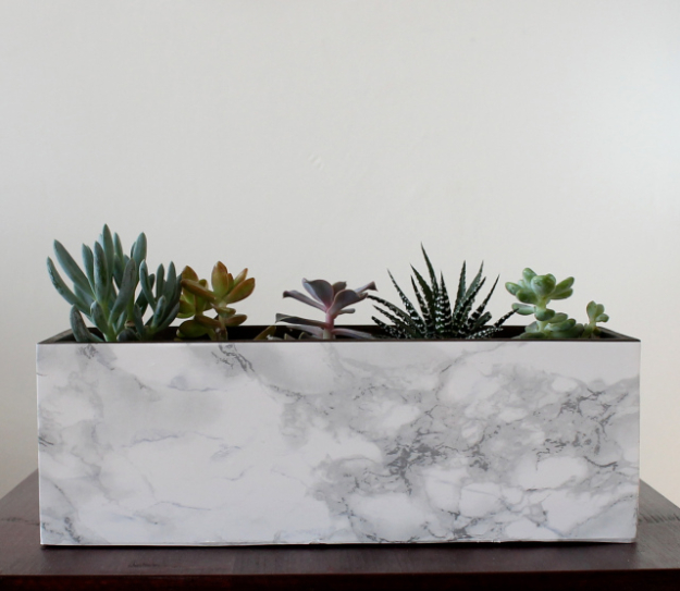 DIY Faux Marble Ideas - Faux Marble Planter DIY - Easy Crafts and DIY Projects With Faux Marbling Tutorials - Paint and Decorate Home Decor, Creative DIY Gifts and Office Accessories