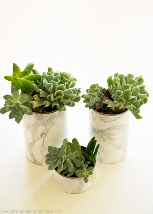 DIY Faux Marble Ideas - Faux Marble Succulent Planters - Easy Crafts and DIY Projects With Faux Marbling Tutorials - Paint and Decorate Home Decor, Creative DIY Gifts and Office Accessories