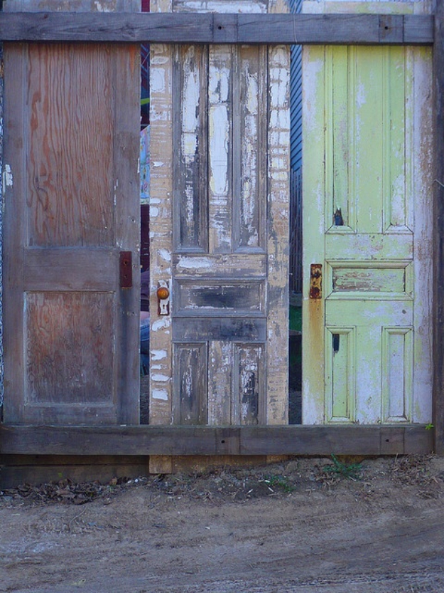 DIY Fences and Gates - Fences Made Of Old Doors - How To Make Easy Fence and Gate Project for Backyard and Home - Step by Step Tutorial and Ideas for Painting, Updating and Making Fences and DIY Gate - Cool Outdoors and Yard Projects