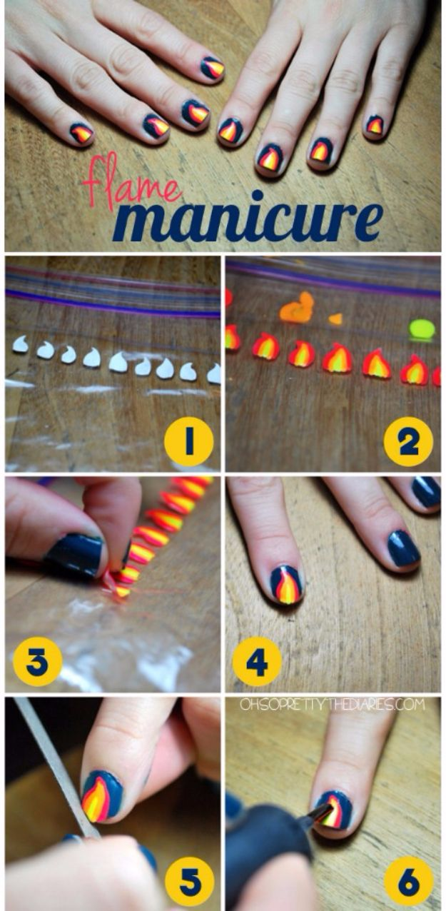 Quick Nail Art Ideas - Flame Manicure - Easy Step by Step Nail Designs With Tutorials and Instructions - Simple Photos Show You How To Get A Perfect Manicure at Home - Cool Beauty Tips and Tricks for Women and Teens