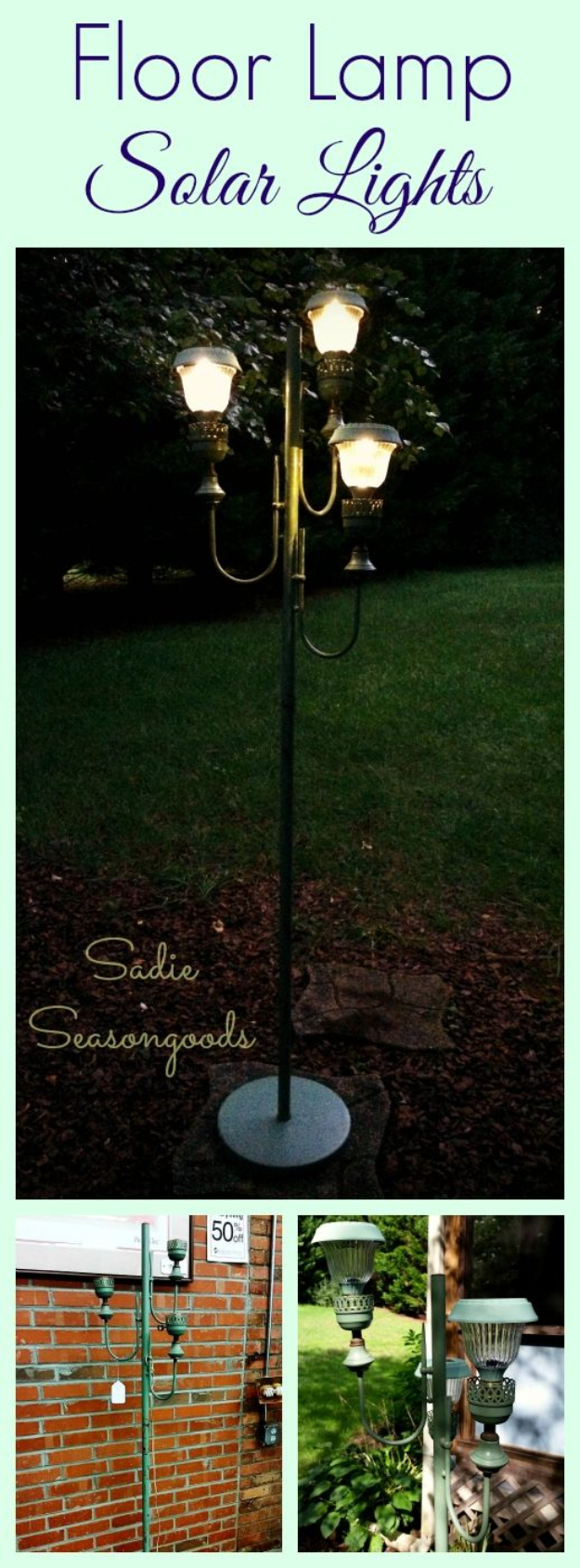 DIY Solar Powered Projects - Floor Lamp Solar Lights - Easy Solar Crafts and DYI Ideas for Making Solar Power Things You Can Use To Save Energy - Step by Step Tutorials for Making Things Without Batteries - DIY Projects and Crafts for Men and Women