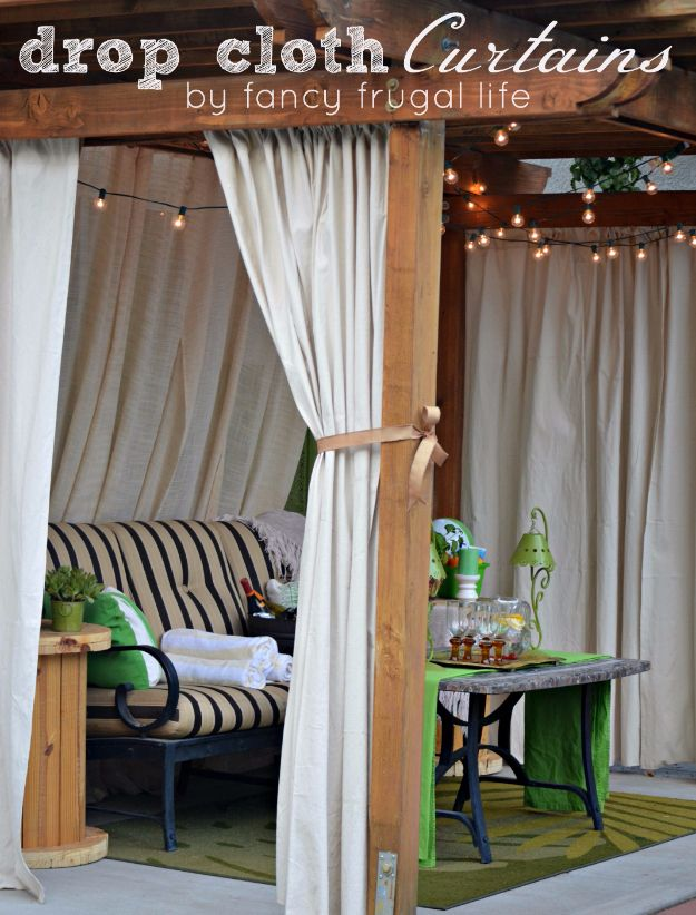 """Sewing Projects for The Patio - """"Cabana"""" Patio Makeover with DIY Drop Cloth Curtains - Step by Step Instructions and Free Patterns for Cushions, Pillows, Seating, Sofa and Outdoor Patio Decor - Easy Sewing Tutorials for Beginners - Creative and Cheap Outdoor Ideas for Those Who Love to Sew - DIY Projects and Crafts by DIY JOY #diydecor #diyhomedecor #sewing"""