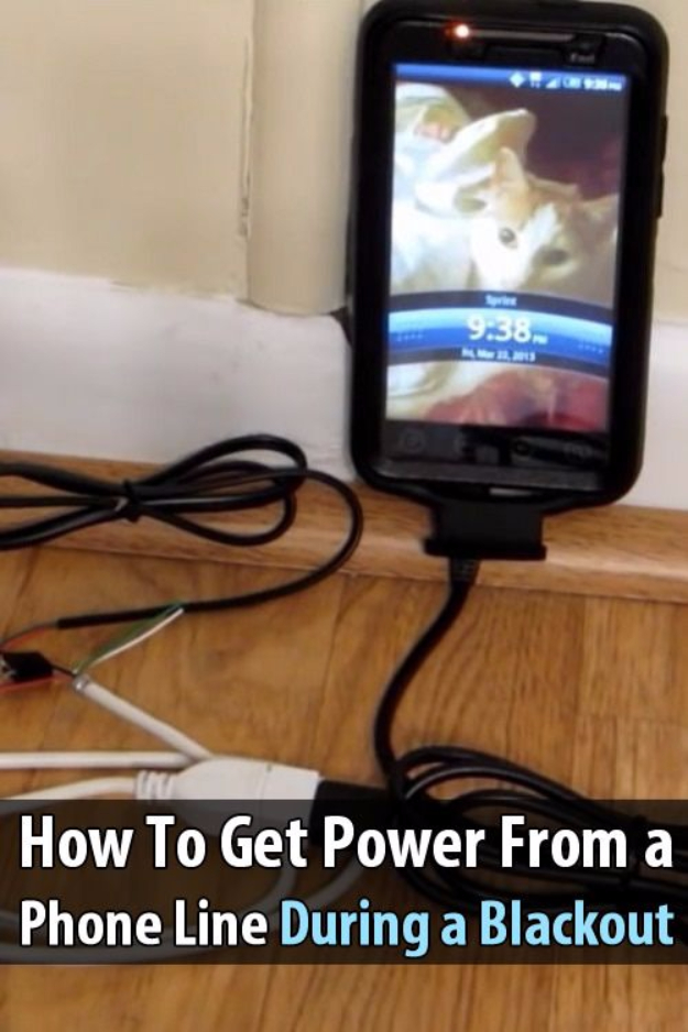 DIY Phone Hacks - Get Power From a Phone Line During a Blackout - Cool Tips and Tricks for Phones, Headphones and iPhone How To - Make Speakers, Change Settings, Know Secrets You Can Do With Your Phone By Learning This Cool Stuff - DIY Projects and Crafts for Men and Women http://diyjoy.com/diy-iphone-hacks