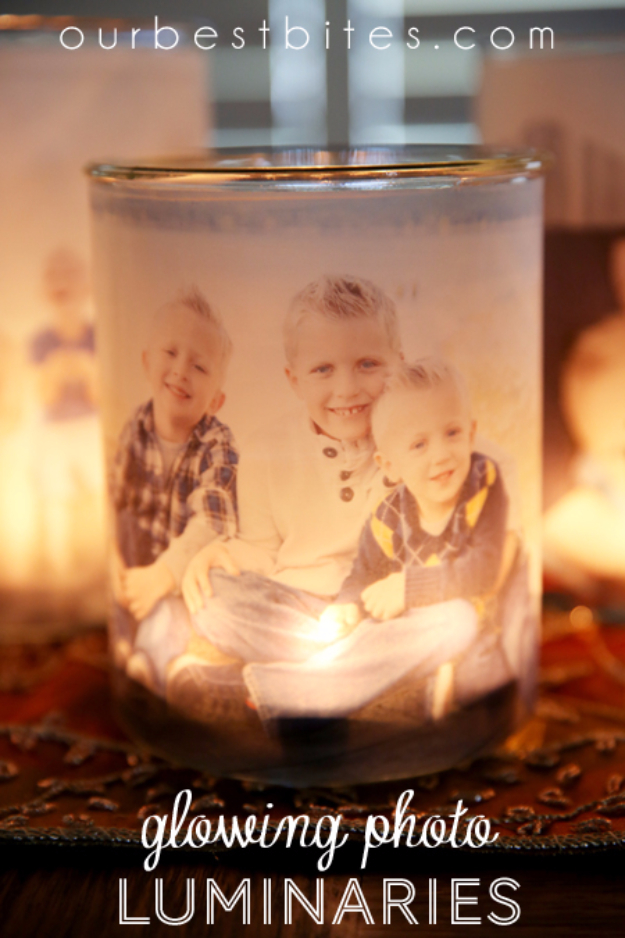 DIY Photo Crafts and Projects for Pictures - Glowing Photo Luminaries - Handmade Picture Frame Ideas and Step by Step Tutorials for Making Cool DIY Gifts and Home Decor - Cheap and Easy Photo Frames, Creative Ways to Frame and Mount Photos on Canvas and Display Them In Your House http://diyjoy.com/handmade-photo-crafts