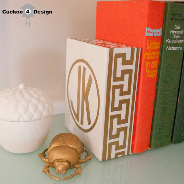 DIY Sharpie Crafts - Gold Monogrammed Greek Key Bookend - Cool and Easy Craft Projects and DIY Ideas Using Sharpies - Use Markers To Decorate and Design Home Decor, Cool Homemade Gifts, T-Shirts, Shoes and Wall Art. Creative Project Tutorials for Teens, Kids and Adults http://diyjoy.com/diy-sharpie-crafts