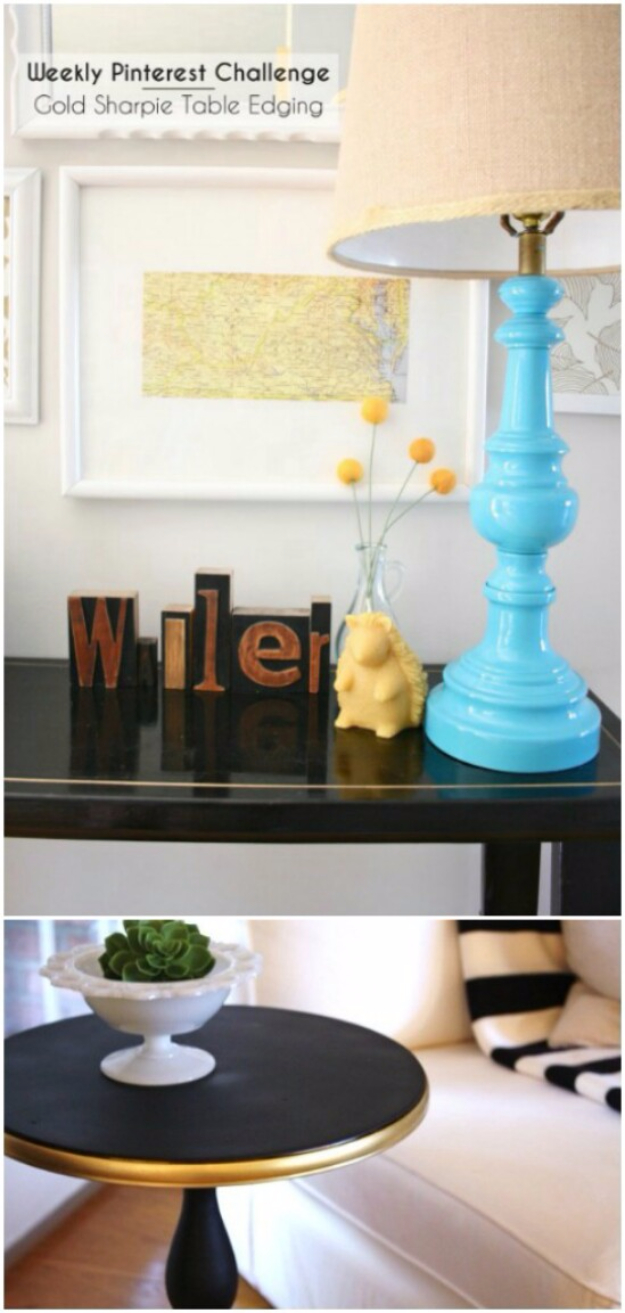 DIY Sharpie Crafts - Gold Sharpie Table Edging - Cool and Easy Craft Projects and DIY Ideas Using Sharpies - Use Markers To Decorate and Design Home Decor, Cool Homemade Gifts, T-Shirts, Shoes and Wall Art. Creative Project Tutorials for Teens, Kids and Adults http://diyjoy.com/diy-sharpie-crafts