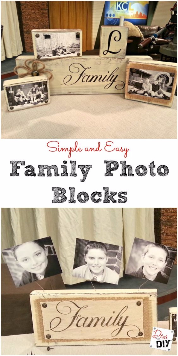 DIY Photo Crafts and Projects for Pictures - Handmade Photo Blocks - Handmade Picture Frame Ideas and Step by Step Tutorials for Making Cool DIY Gifts and Home Decor - Cheap and Easy Photo Frames, Creative Ways to Frame and Mount Photos on Canvas and Display Them In Your House http://diyjoy.com/handmade-photo-crafts
