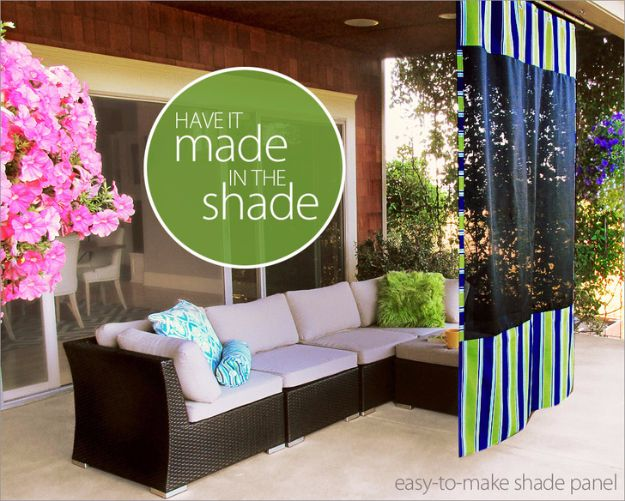 Sewing Projects for The Patio - Hanging Outdoor Shade Screen - Step by Step Instructions and Free Patterns for Cushions, Pillows, Seating, Sofa and Outdoor Patio Decor - Easy Sewing Tutorials for Beginners - Creative and Cheap Outdoor Ideas for Those Who Love to Sew - DIY Projects and Crafts by DIY JOY http://diyjoy.com/sewing-projects-patio
