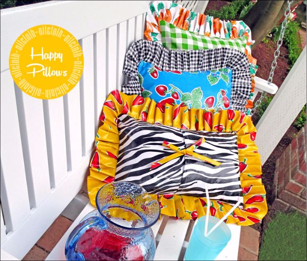 Sewing Projects for The Patio - Happy Oilcloth Pillows for Patio Living - Step by Step Instructions and Free Patterns for Cushions, Pillows, Seating, Sofa and Outdoor Patio Decor - Easy Sewing Tutorials for Beginners - Creative and Cheap Outdoor Ideas for Those Who Love to Sew - DIY Projects and Crafts by DIY JOY http://diyjoy.com/sewing-projects-patio