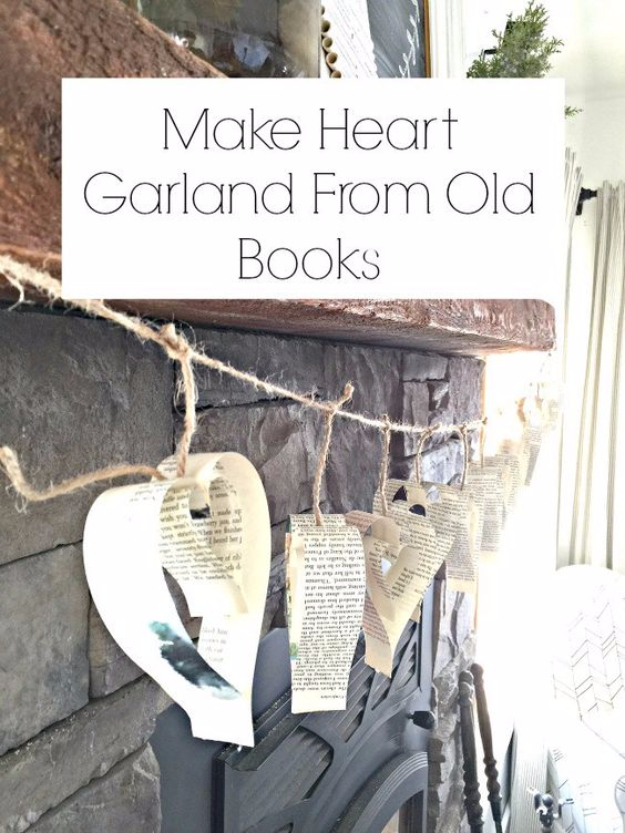 DIY Projects Made With Old Books - Heart Garland From Old Books - Make DIY Gifts, Crafts and Home Decor With Old Book Pages and Hardcover and Paperbacks - Easy Shelving, Decorations, Wall Art and Centerpices with BOOKS http://diyjoy.com/diy-projects-old-books