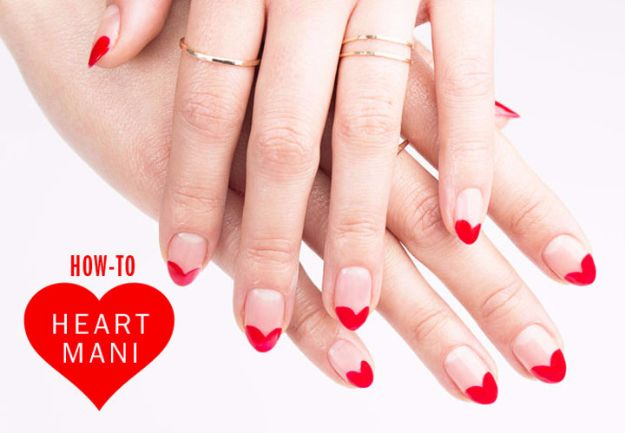 Quick Nail Art Ideas - Heart Manicure DIY - Easy Step by Step Nail Designs With Tutorials and Instructions - Simple Photos Show You How To Get A Perfect Manicure at Home - Cool Beauty Tips and Tricks for Women and Teens