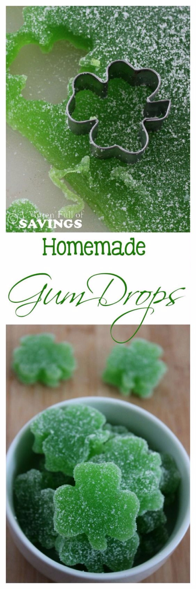 DIY St Patricks Day Ideas - Homemade Gum Drops - Food and Best Recipes, Decorations and Home Decor, Party Ideas - Cupcakes, Drinks, Festive St Patrick Day Parties With these Easy, Quick and Cool Crafts and DIY Projects http://diyjoy.com/st-patricks-day-ideas