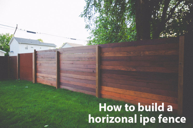 DIY Fences and Gates - Horizontal Ipe Fence - How To Make Easy Fence and Gate Project for Backyard and Home - Step by Step Tutorial and Ideas for Painting, Updating and Making Fences and DIY Gate - Cool Outdoors and Yard Projects http://diyjoy.com/diy-fences- gates