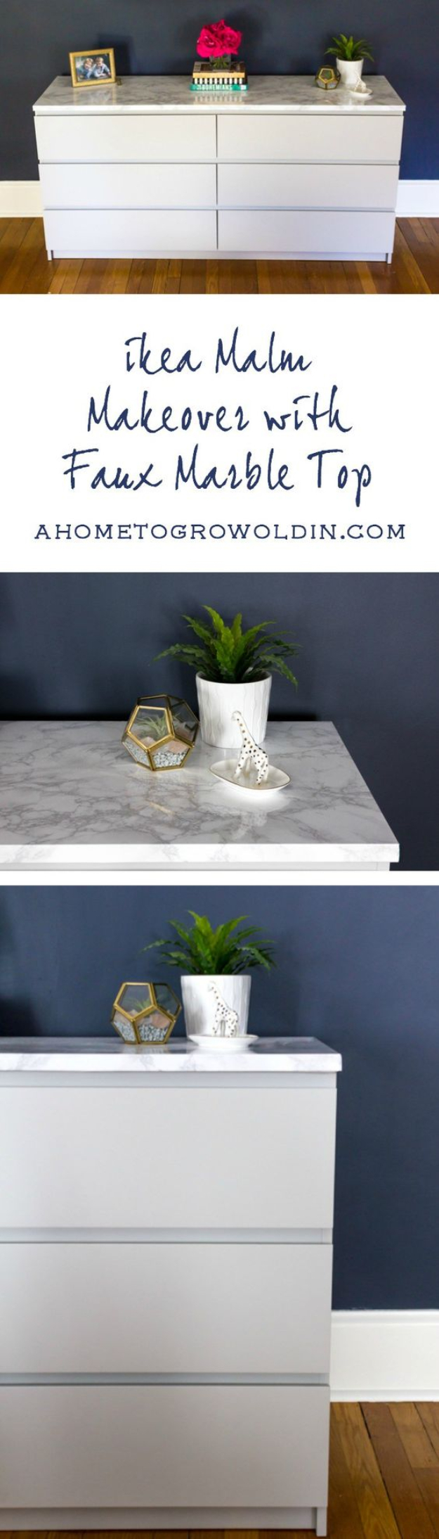 DIY Faux Marble Ideas - Ikea Malm Dresser with a Marble Top - Easy Crafts and DIY Projects With Faux Marbling Tutorials - Paint and Decorate Home Decor, Creative DIY Gifts and Office Accessories