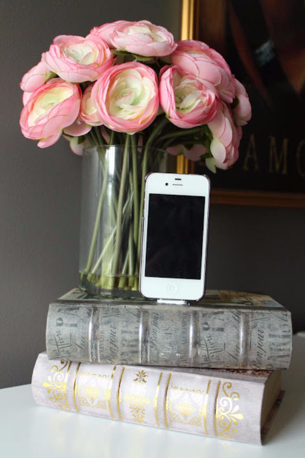 DIY Phone Hacks - Iphone Dock From Old Books - Cool Tips and Tricks for Phones, Headphones and iPhone How To - Make Speakers, Change Settings, Know Secrets You Can Do With Your Phone By Learning This Cool Stuff - DIY Projects and Crafts for Men and Women http://diyjoy.com/diy-iphone-hacks
