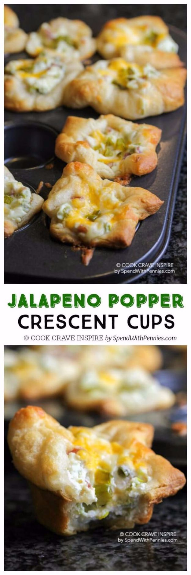Best Crescent Roll Recipes - Jalapeno Popper Crescent Cups - Easy Homemade Dinner Recipe Ideas With Cresent Rolls, Breakfast, Snack, Appetizers and Dessert - With Chicken and Ground Beef, Hot Dogs, Pizza, Garlic Taco, Sweet Desserts #recipes