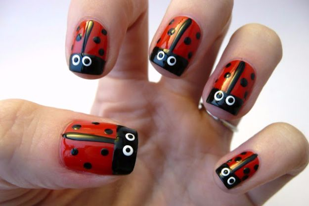37 quick but awesome 5 minute nail art ideas diy joy quick nail art ideas ladybug nail art easy step by step nail designs with prinsesfo Choice Image