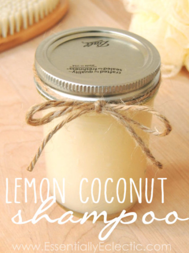 DIY Beauty Ideas and Recipes for Products You Can Make At Home - Lemon Coconut Shampoo - Easy Tutorials and Recipe Ideas for Face, Skin, Hair, Makeup, Lips - 3 Ingredient, Coconut Oil, Cheap Knock Offs, Baking Soda and Natural Product - Cool Homemade Gifts for Teens and Women