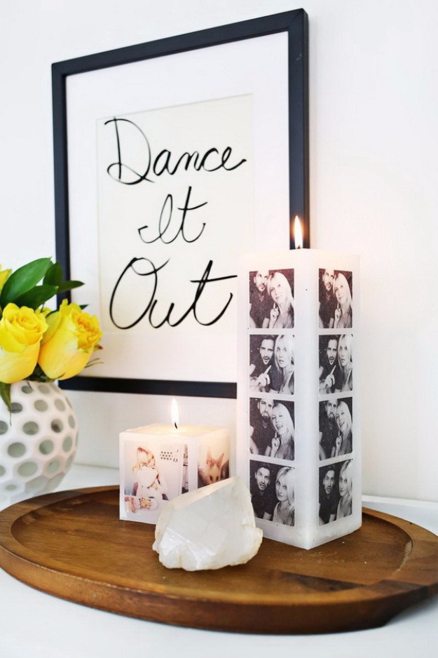 DIY Photo Crafts and Projects for Pictures - Make Your Own Photo Candle - Handmade Picture Frame Ideas and Step by Step Tutorials for Making Cool DIY Gifts and Home Decor - Cheap and Easy Photo Frames, Creative Ways to Frame and Mount Photos on Canvas and Display Them In Your House http://diyjoy.com/handmade-photo-crafts