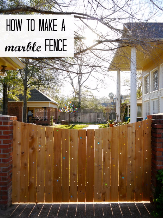 DIY Fences and Gates - Marble Fence - How To Make Easy Fence and Gate Project for Backyard and Home - Step by Step Tutorial and Ideas for Painting, Updating and Making Fences and DIY Gate - Cool Outdoors and Yard Projects http://diyjoy.com/diy-fences-gates